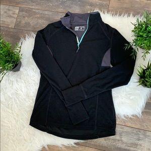 EUC fleece running pullover w pocket&thumb holes